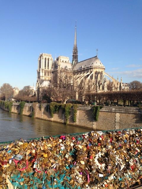 notre dame and the bridge of locks