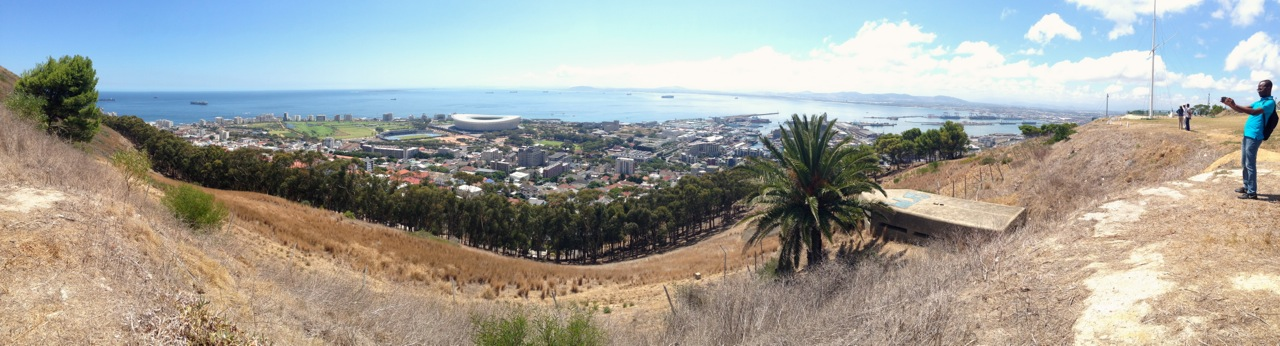 noon gun hill towards green point the stadium and the waterfront