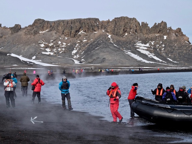 landing on the steaming black sand beach at Deception Island